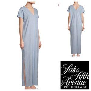 Saks Fifth Avenue Dresses - Saks Fifth Avenue V Neck Side Slit Cotton Dress